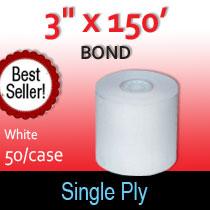 3x150 Bond 1 ply kitchen printer paper